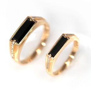 Genuine Burmese Black Jadeite 18K Gold Ring